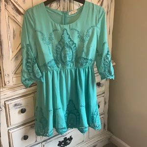 Mint green 💕 ADORABLE embroidered design dress